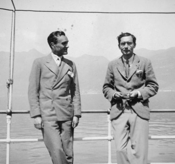 """Alfred Barr Jr.; Philip Johnson on Lake Maggiore April 1933."" Left to right: Philip Johnson, Alfred H. Barr, Jr. Margaret Scolari Barr Papers, Scrapbook 1933-1934, MSB and AHB's sabbatical year 1933: incl. Easter. The Museum of Modern Art Archives, New York.  Image licenced to David  Hanks David A Hanks & Associates by David  Hanks Usage :  - 3000 X 3000 pixels (Letter Size, A4) - Book publishing - Two Languages - World - inside use  © Digital Image © The Museum of Modern Art/Licensed by SCALA / Art Resource"